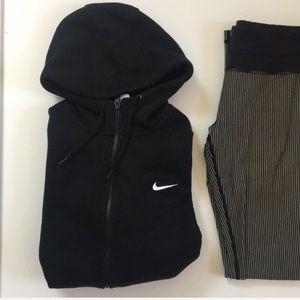 { Nike } zipper up hooded soft sweatshirt in black